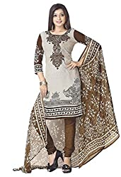 SDM Women's Crepe Printed Dress Material Unstitched (101, brown, Free Size)