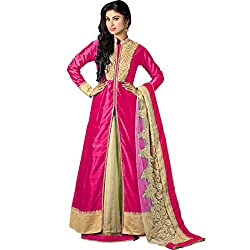Vasu Saree Mouni Roy Perfect Hot Pink Resham Work Silk Designer Suit