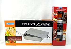 Camerons Barbecue Indoor Smoker Set Mini Stovetop Smoker and Smoking Chips Gift Pack by Camerons Barbecue