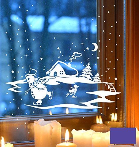 WTD film adhésif pour fenêtre motif bonhomme de neige et de canard winterbild winterhaus sapins m1703 la conduite patins à glace, lavande, XXL - 80cm breit x 50cm hoch