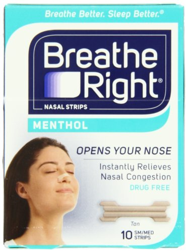Breathe Right Nasal Strips, Mentholated, SM/MED,