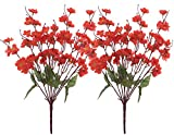 Fourwalls Artificial Peach Blossom Flower Bunch (37 cm, Red, Set of 2, 9 Branches)