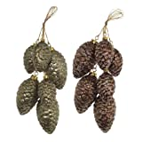 RAZ Imports - Glittered Gold and Brown Pinecone Clusters