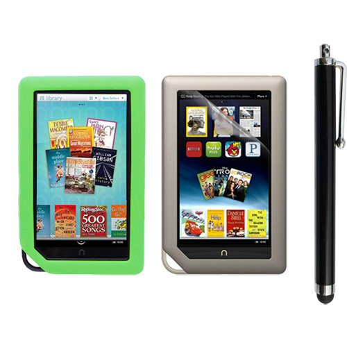 Skque Clear Screen Protector + Green Soft Silicone Cover Case + Touch Screen Tablet/Smart Phone Stylus Pen(Black Body) for Barnes&Noble Nook Color Ebook Reader