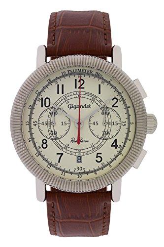 Gigandet Reloj de Hombre Cuarzo Red Baron IV Cronógrafo Analógico Cuero Marrón Beis G19-001