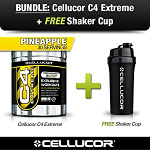 Cellucor C4 Extreme Pre Workout Bundle w/ Cellucor Shaker Cup, 30 Servings, Pineapple