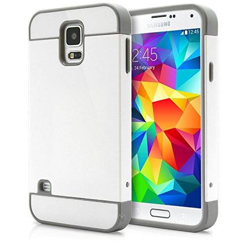 Galaxy S5 Case, MagicMobile® Hybrid Cute Ultra Slim Thin Impact Hard Durable TPU Protective Cover Armor Shell [ White - Gray ] Free Screen Protector / Film and Pen Stylus (Cute Protective S5 Case compare prices)