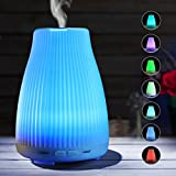 Ultrasonic Aromatherapy Essential Oil Diffuser - 100ml Ultra Quiet Aroma Cool Mist Humidifier with 7 Color LED Mood Lights, Sufficient Mist Flow and Automatic Shut-off for Young Living