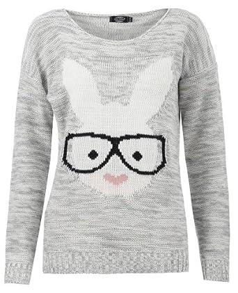 Aislinn Womens Long Sleeves Geek Rabbit Bunny Print Motif Knitted