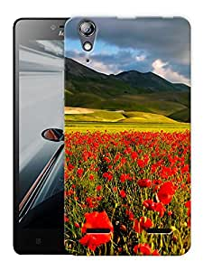 """Humor Gang Red Flower Field Printed Designer Mobile Back Cover For """"Lenovo A6000 - A6000 PLUS"""" (3D, Matte, Premium Quality Snap On Case)"""