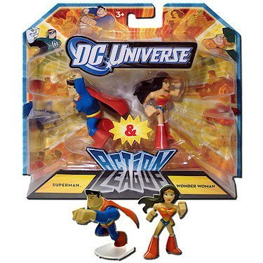 DC Universe 2.25 inch Mini Action League 2-Pack - Superman and Wonder Woman by Mattel 1001134 (English Manual)