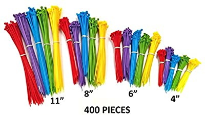 "Nylon Cable Ties - 4"", 6"", 8"" & 11"" - Multi Color (Blue, Red, Green, Yellow, Purple)"