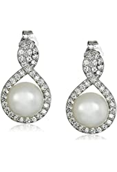 Platinum Plated Sterling Silver Cubic Zirconia Freshwater Cultured Pearl Dangle Earrings