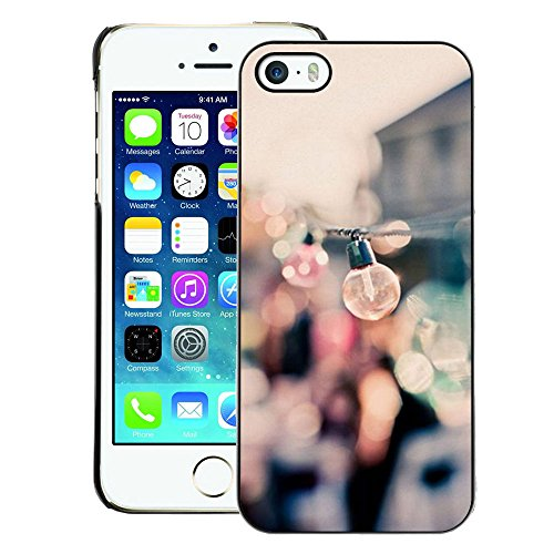 A-type Colorful Printed Hard Protective Back Case Cover Shell Skin for iPhone 5 / 5S (Party Bulbs Docks Port Summer Focus Blur)