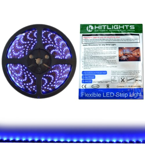 Hitlights Weatherproof Blue Smd3528 Led Light Strip - 300 Leds, 16.4 Ft Roll, Cut To Length - Requires 12V Dc, Ip65