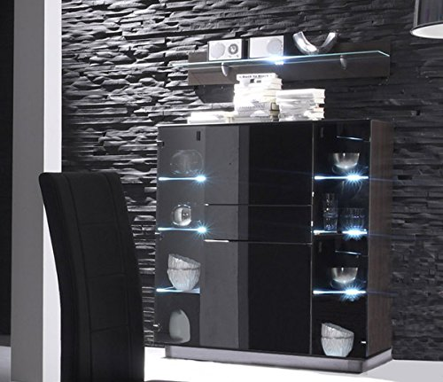 barschrank 54160 wenge schwarzglas mit led beleuchtung. Black Bedroom Furniture Sets. Home Design Ideas