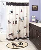 Fashionista Glam Old Hollywood Paris Couture Shoes Purse Fashion Bath Ensemble Shower Curtains,2pc Hand Towel and Bath Rug Mat Collection Set Black White Beige Robin's Egg Teal Color Decor