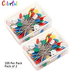 Narrowser Multi-colored Flat Flower Head Pins Boxed, Pack of 2, 100 Per Pack ,Colorful