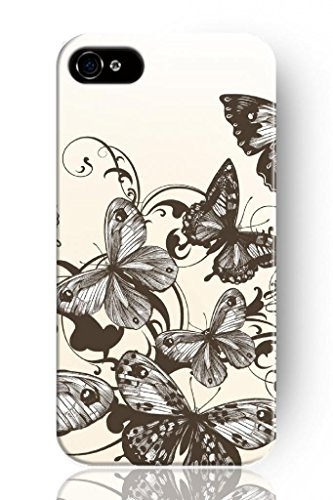 Sprawl New Beautiful Vintage Design Personalized Hard Plastic Snap On Slim Fit Butterfly Drawing Iphone 4 4S Case For Girls