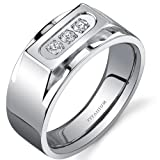 Bold Mens Titanium 3 Stone 10 mm Ring Available Size 8 to 13 Free Shipping