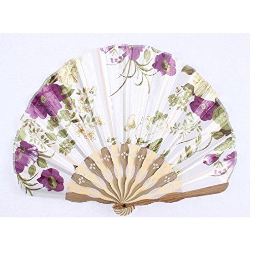 Bois Ribs Seashell Forme Fleur Imprimé pliable Éventail blanc