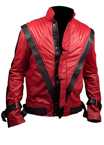 [Thriller Jacket - Michael Jackson Red and Black MJ Leather Costume (S, Red and Black)] (Mj Thriller Halloween Costume)
