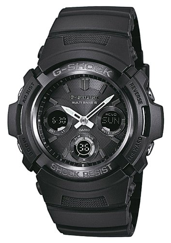 Casio G-Shock  Quartz Watch with Black Dial Analogue - Digital Display and Black Resin Strap AWG-M100B-1AER