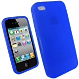 IGadgitz Blue Silicone Skin Case Cover for Apple iPhone 4 HD 16gb & 32gb + Screen Protector.