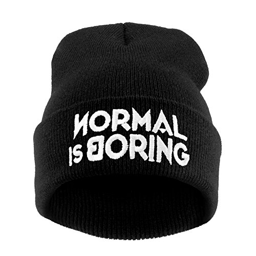 Mens Women's Black Beanie Hat Embroidery Winter Warm Hat Parental Advisory Bad Hair Day Comme Des Fuckdown Normal People Scare Me Cocaine & Caviar (NORMAL IS BORING)
