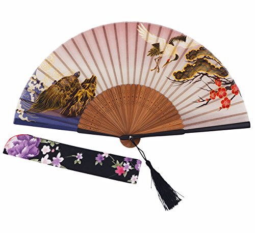 Amajiji® Chinese Japanese Folding Hand Fan for women,Vintage Retro Style 9.05