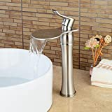 Senlesen Tall Waterfall Single Handle Brushed Nickel Bathroom Sink Vessel Faucet Lavatory Faucets