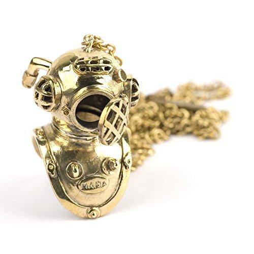 [81stgeneration Women's Men's Vintage Style Brass Scuba Diving Helmet Chain Pendant Necklace, 72 cm] (Scuba Diver Costumes)