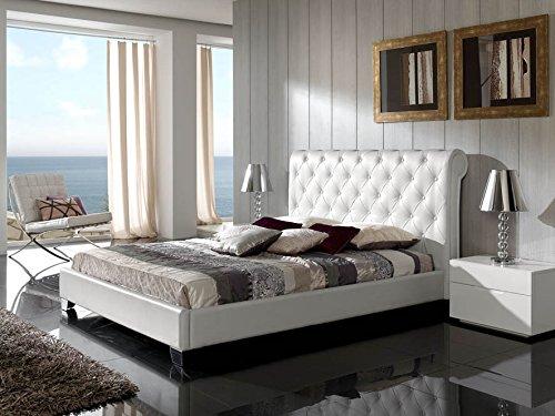 Cama (polipiel) NURIA 632 blanco para colchón de 150x190