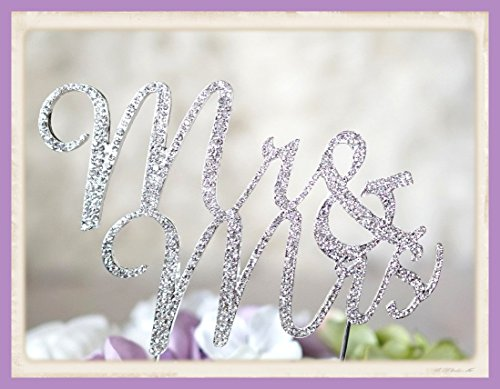 Crystal Rhinestone Cake Topper Wedding Monogram Mr & Mrs diamante Bling Inital Cake Decoration (1, Silver)