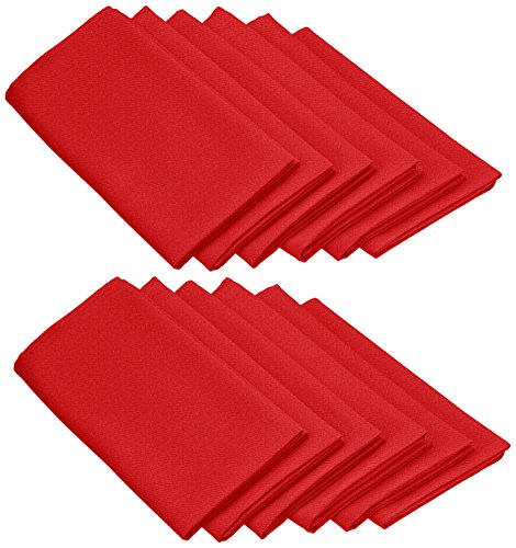 LinenTablecloth 20-Inch Polyester Napkins (1-Dozen) Red (Linen Napkins Red compare prices)