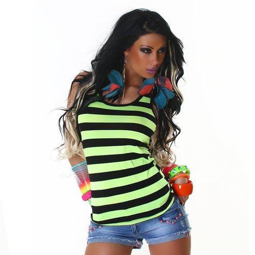 Sexy Top Trägertop Shirt gestreift Neon Einheitsgröße 32,34,36,38 - verschiedene Farben