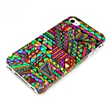 DeinPhone Zig Zag Pattern Mega Colourful Case Cover Bumper for Apple iPhone 4/4S
