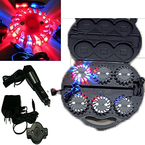 6 Pack Blue Red Rechargable Waterproof Led Magnet Safety Flare With 9 Operating Modes + Free Chargers And Travel Case