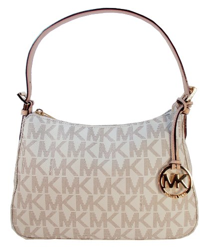 Michael Kors Item Small Top Zip Shoulder Bag In Signature Vanilla Pvc