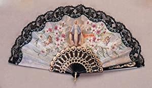 Religious Fan - Our Lady of Grace - 19in. - Folding - Hand Made - Imported from Spain, Black