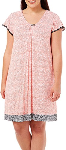 Ellen Tracy Plus Short Sleeve Chemise Nightgown