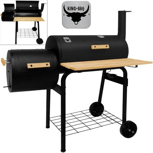 Räuchergrill Grillstation - BBQ Smoker Grillstation auf Rollen mit 2 Kammern - Grillwagen Kohlegrill
