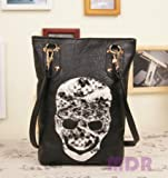 Fashion Women's Faux Leather Skull Handbag Cool Lady PU Totes Hobo & Shoulder Carry Bag XKL