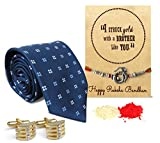 Tied Ribbons Rakshabandhan Gifts Card Set of (Finest Rakhi with Tie and Cufflinks )