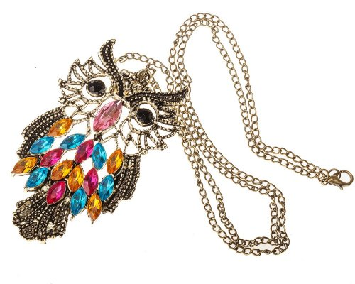 Vintage Bronze Owl Long Chain Pendant Necklace Bright Coloured Stones By Vaga®