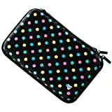 Technoskin - Compact Travel Carrying Case for NEW 3DS or NEW 3DS XL - Polka Dot - 8 Game Holders - Hard Cover - Mesh Accessory Pouch - Carrying Strap - Lifetime Guarantee