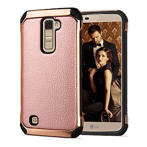LG K10 Case, Premier LTE Case, Bicast Leather Hybrid, JoJoGoldStar Slim Fit Heavy Duty Polycarbonate and Silicone TPU Cover with Screen Protector and Stylus - Rose Gold (Lg Phone Case Cover compare prices)