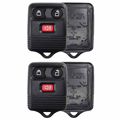 KeylessOption Just the Case Keyless Entry Remote Key Fob Shell Replacement - Black (Pack of 2) (Ford Escape 2014 Key compare prices)