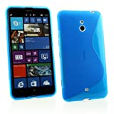 Kit Me Out UK TPU Gel Case + Screen Protector with MicroFibre Cleaning Cloth for Nokia Lumia 1320 - Blue S Line Wave Pattern