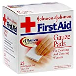 Johnsons First Aid Gauze Pads, Medium, 25 pads